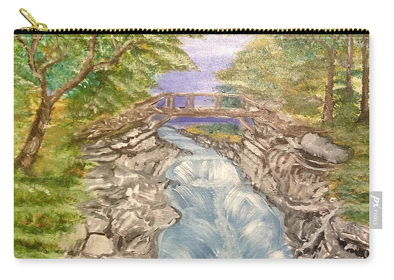 River Carry-all Pouch featuring the painting River Bridge by Suzanne Surber