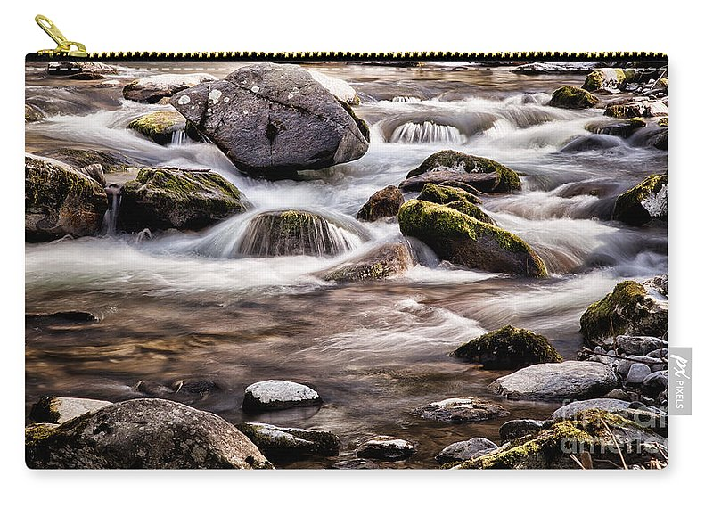 River Carry-all Pouch featuring the photograph River Flowing Over Rocks by Simon Bratt Photography LRPS