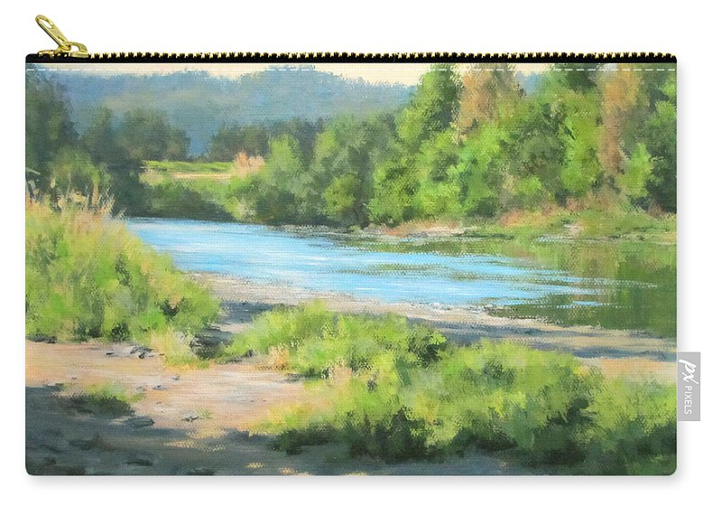 Landscape Carry-all Pouch featuring the painting River Forks Morning by Karen Ilari