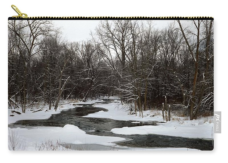 Chippewa River Carry-all Pouch featuring the photograph River Freeze by Linda Kerkau