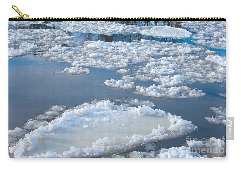 Ice Carry-all Pouch featuring the photograph River Ice by Ann Horn