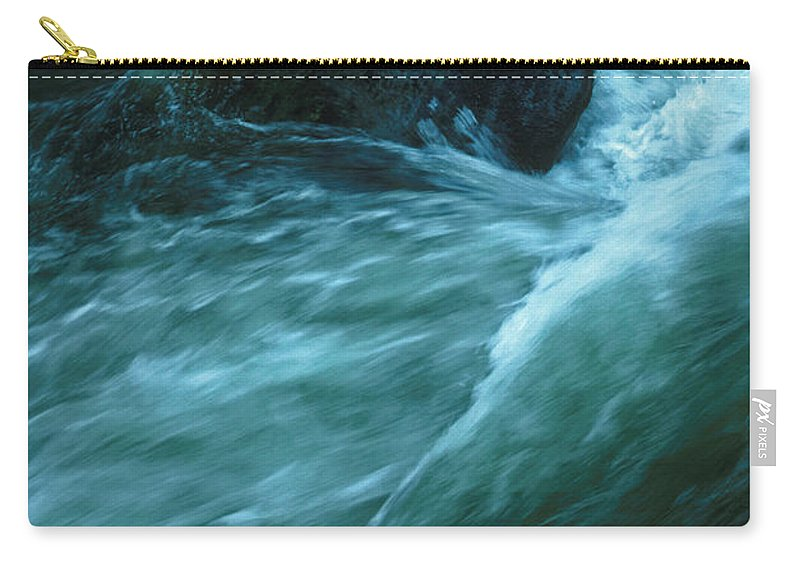 Lynn Lynnmouth Devon England Water River Blue Landscape Movement Flow Tide Running Winter Flood Rock Struggle north Devon Exmoor Exe Carry-all Pouch featuring the photograph River Lynn In Surge by Neil Pollick