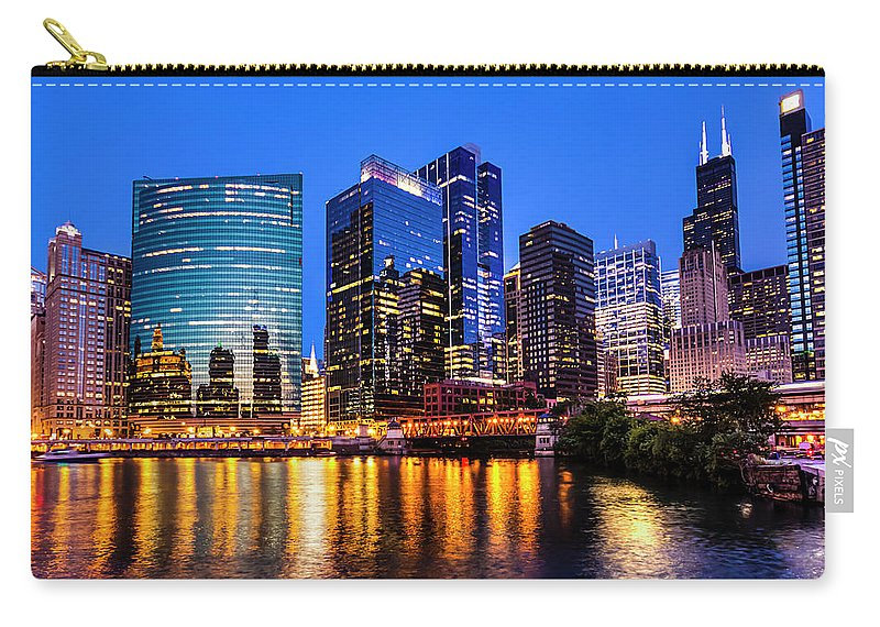 Chicago River Carry-all Pouch featuring the photograph River North View by Carl Larson Photography