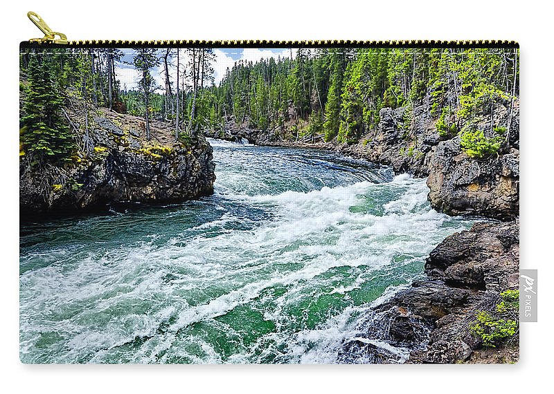 Yellowstone National Park Carry-all Pouch featuring the photograph River Power by Jon Berghoff