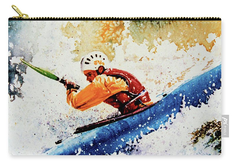 Sports Art Carry-all Pouch featuring the painting River Rush by Hanne Lore Koehler
