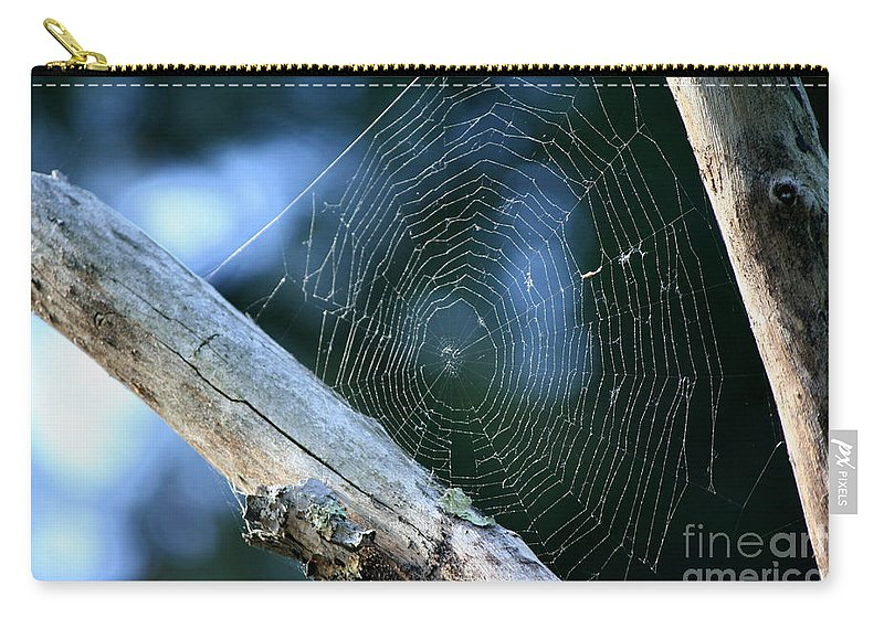 Spider Web Carry-all Pouch featuring the photograph River Spider Web  by Neal Eslinger