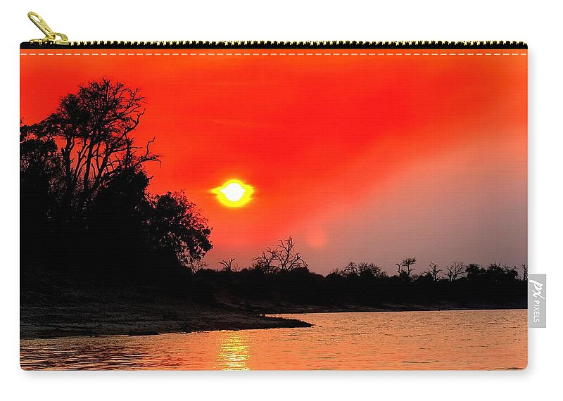 Chobe River Carry-all Pouch featuring the photograph River Sunset by Amanda Stadther