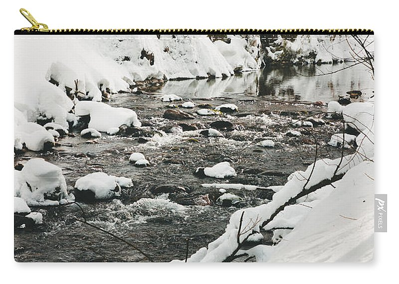 Beautiful Carry-all Pouch featuring the photograph River Vertical by Pati Photography