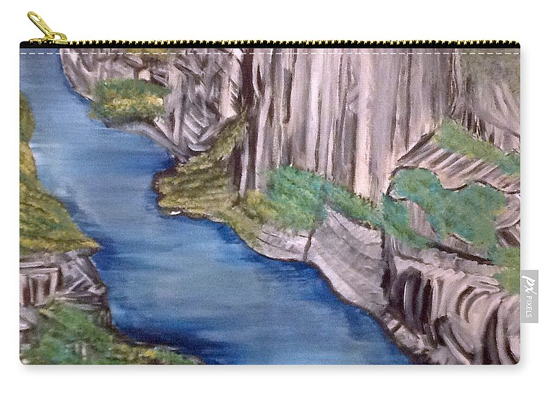 Cliffs Carry-all Pouch featuring the painting River With No End by Suzanne Surber