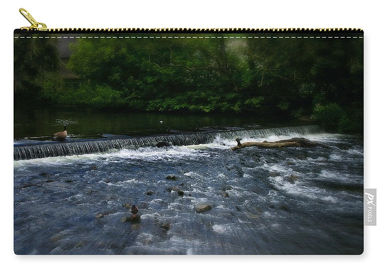 Garden Carry-all Pouch featuring the photograph River Wye Waterfall - In Peak District - England by Doc Braham