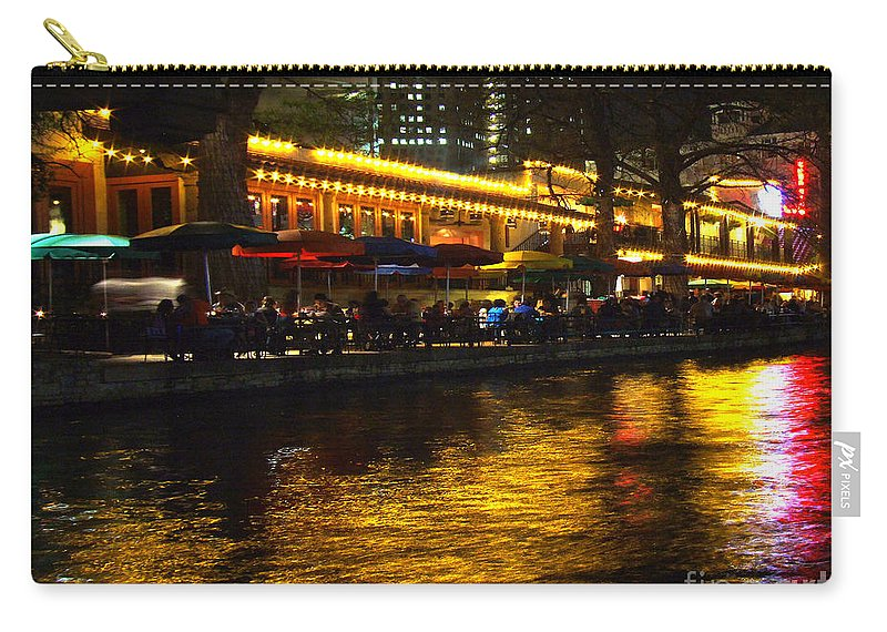 San Antonio Carry-all Pouch featuring the photograph Riverwalk Night Life by CK Caldwell