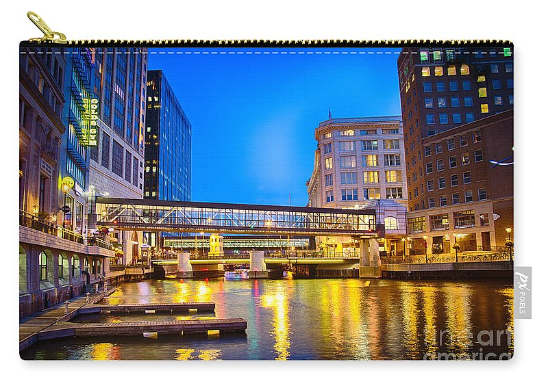 Bridge Carry-all Pouch featuring the photograph Riverwalk Shimmer by Andrew Slater