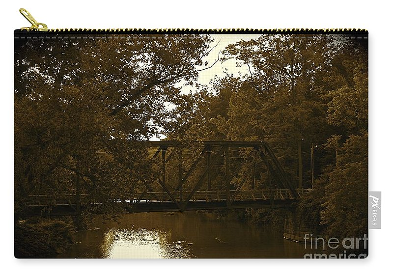 Romantic Carry-all Pouch featuring the photograph Riveting Bridge by Customikes Fun Photography and Film Aka K Mikael Wallin