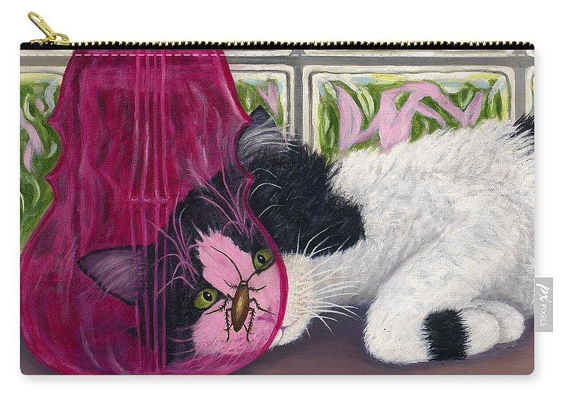 Karen Zuk Rosenblatt Carry-all Pouch featuring the painting Roach Approach Sq by Karen Zuk Rosenblatt