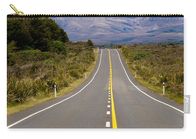 Mount Carry-all Pouch featuring the photograph Road Leading To Active Volcanoe Mt Ngauruhoe In Nz by Stephan Pietzko