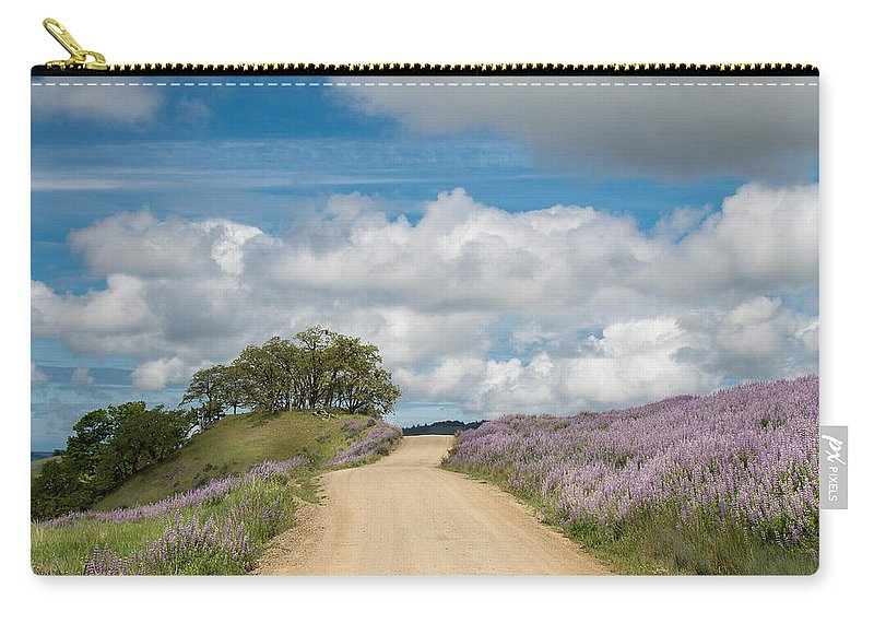 Lupine Carry-all Pouch featuring the photograph Road Through Lupine by Greg Nyquist