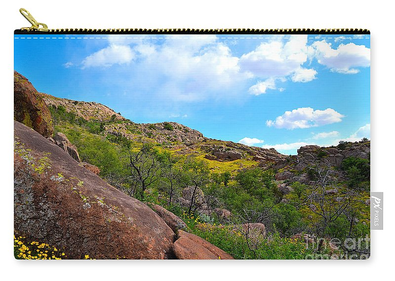 Quartz Mountain Carry-all Pouch featuring the photograph Mountain Roadside by Derry Murphy