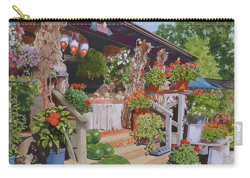 Landscape Carry-all Pouch featuring the mixed media Roadside Stand by Constance Drescher