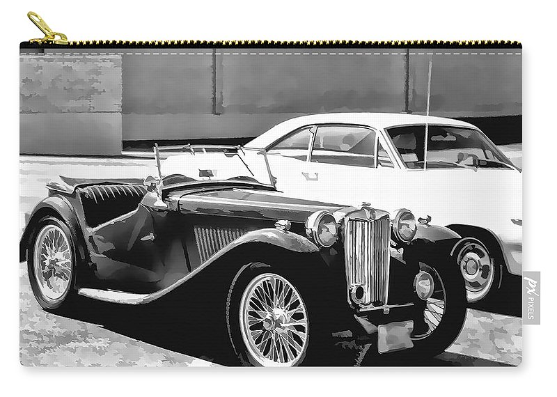 Roadster Carry-all Pouch featuring the photograph Roadster In Black And White by Cathy Anderson