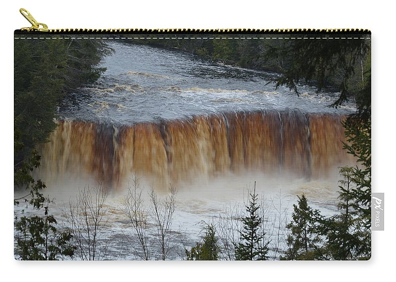 Sable Falls Carry-all Pouch featuring the photograph Roaring Falls by Linda Kerkau