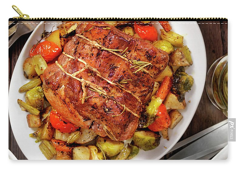 Gravy Carry-all Pouch featuring the photograph Roasted Pork Loin Roast Dinner by Lauripatterson