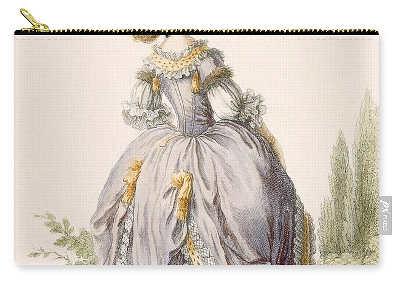 Carry-all Pouch featuring the drawing Robe De La Circassienne, Engraved by Claude Louis Desrais