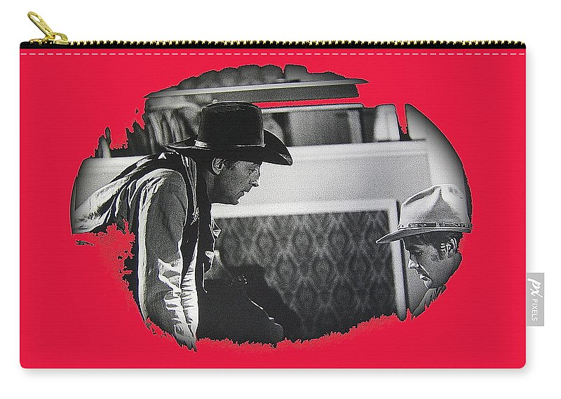 Robert Mitchum Robert Walker Confrontation Young Billy Young Set Old Tucson Arizona 1968 Vignetted Color Added Carry-all Pouch featuring the photograph Robert Mitchum Robert Walker Confrontation Young Billy Young Set Old Tucson Arizona 1968 by David Lee Guss