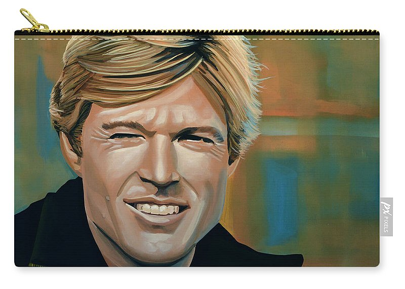 Robert Redford Carry-all Pouch featuring the painting Robert Redford by Paul Meijering