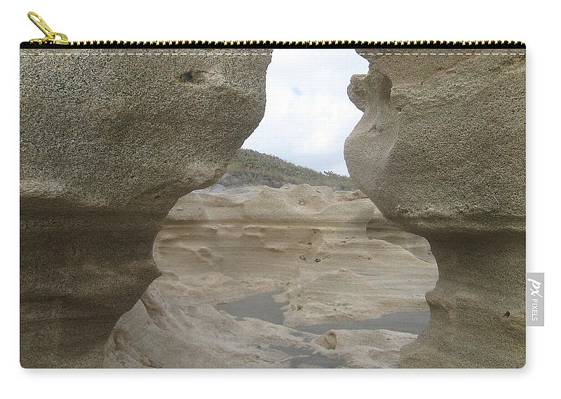 Jupiter Carry-all Pouch featuring the photograph Rock Caves On The Beach by Catie Canetti