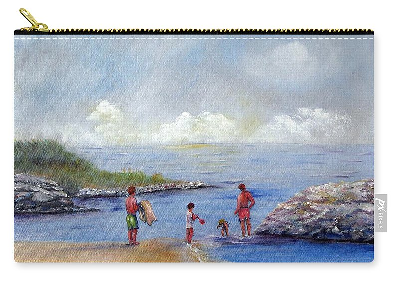 Rock Hall Carry-all Pouch featuring the painting Rock Hall Beach by Loretta Luglio