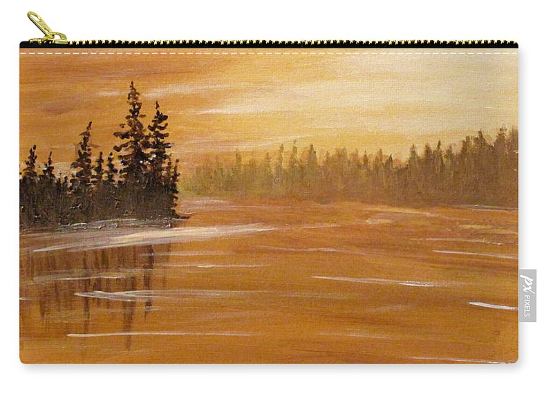 Northern Ontario Carry-all Pouch featuring the painting Rock Lake Morning 1 by Ian MacDonald