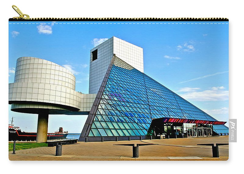 Rock Carry-all Pouch featuring the photograph Rock n Roll Hall of Fame by Frozen in Time Fine Art Photography