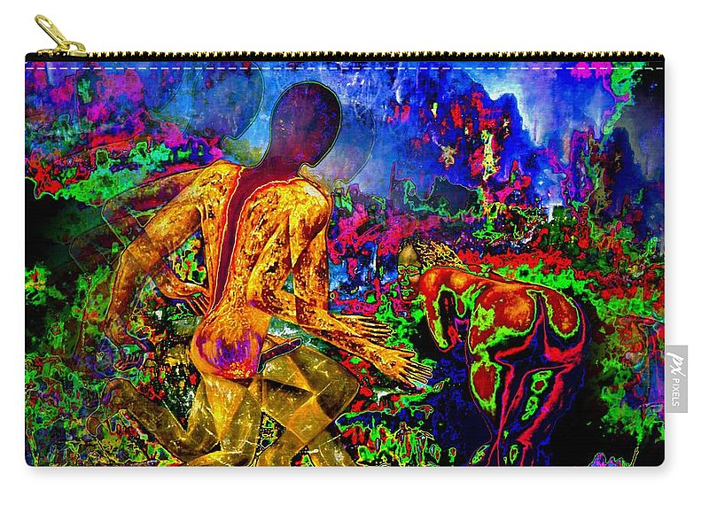 Genio Carry-all Pouch featuring the mixed media Rock 'n' Roll In The Rhythms Of Colours by Genio GgXpress