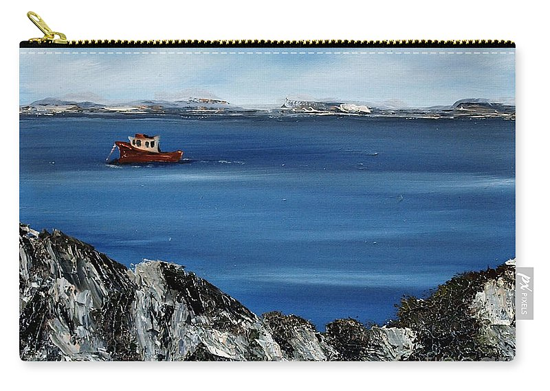 Gorteen Carry-all Pouch featuring the painting Rock View by Corina Hogan