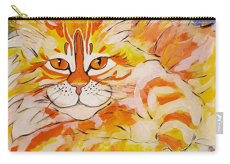 Cat Carry-all Pouch featuring the painting Rocket by Alison Caltrider