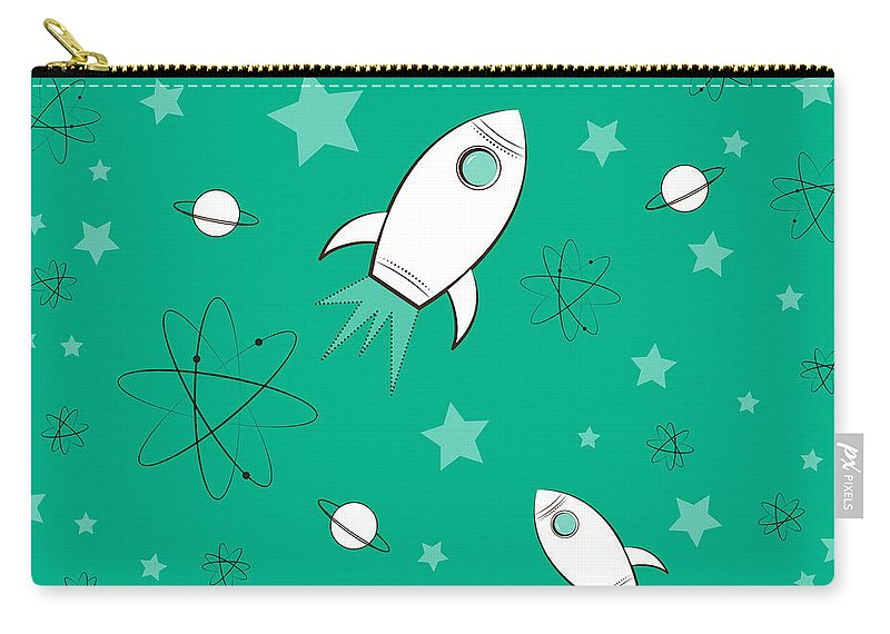 Rocket Carry-all Pouch featuring the painting Rocket Science Green by Amy Kirkpatrick