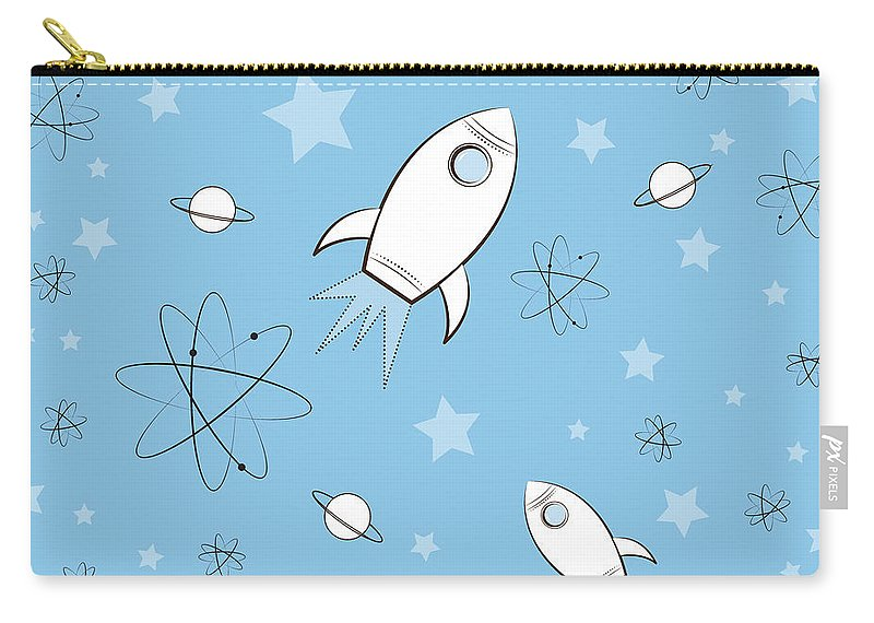Rocket Carry-all Pouch featuring the painting Rocket Science Light Blue by Amy Kirkpatrick
