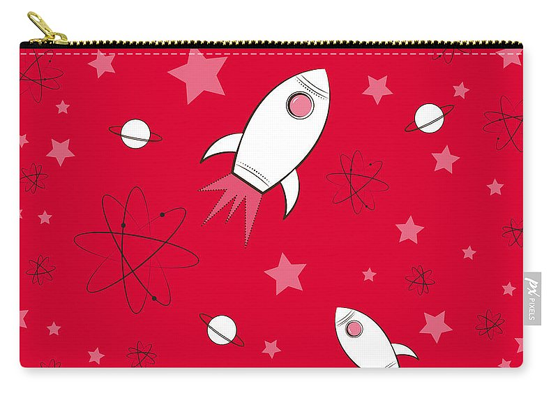 Rocket Carry-all Pouch featuring the painting Rocket Science Red by Amy Kirkpatrick