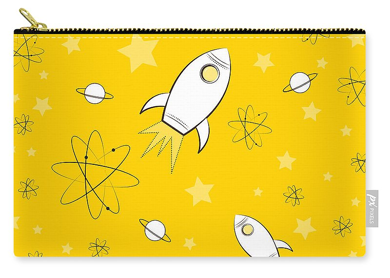 Rocket Carry-all Pouch featuring the painting Rocket Science Yellow by Amy Kirkpatrick