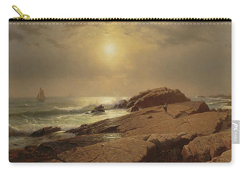 William Stanley Haseltine Rocks At Narragansett Carry-all Pouch featuring the painting Rocks At Narragansett by William Stanley Haseltine