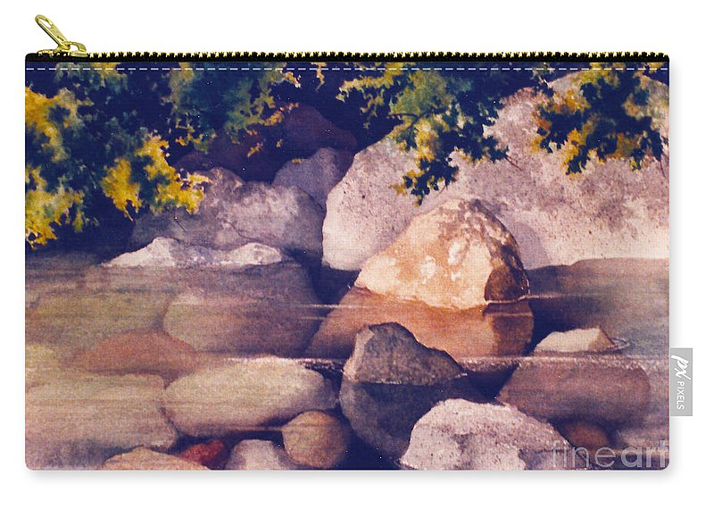 Rocks In Stream Carry-all Pouch featuring the painting Rocks In Stream by Teresa Ascone