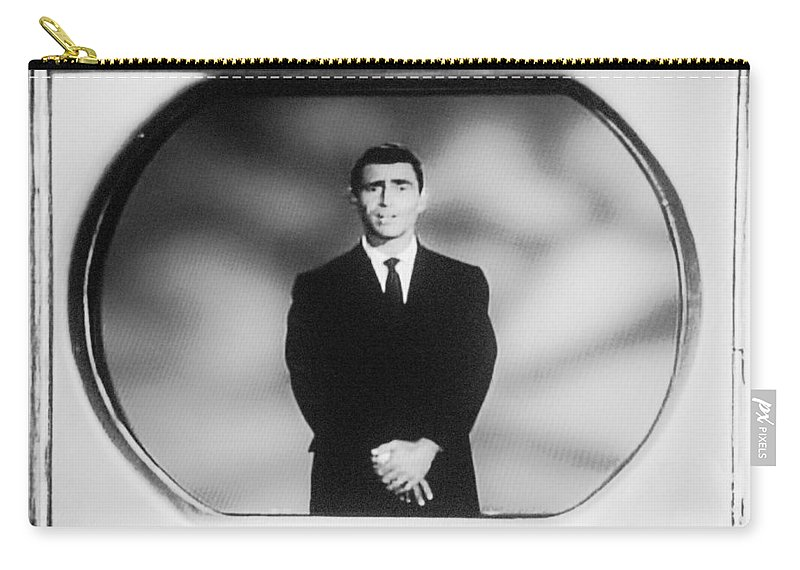 The Twilight Zone Carry-all Pouch featuring the photograph Rod Serling On T V by Rob Hans