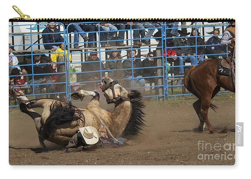 Bare Back Riding Carry-all Pouch featuring the photograph Rodeo Crunch Time by Bob Christopher