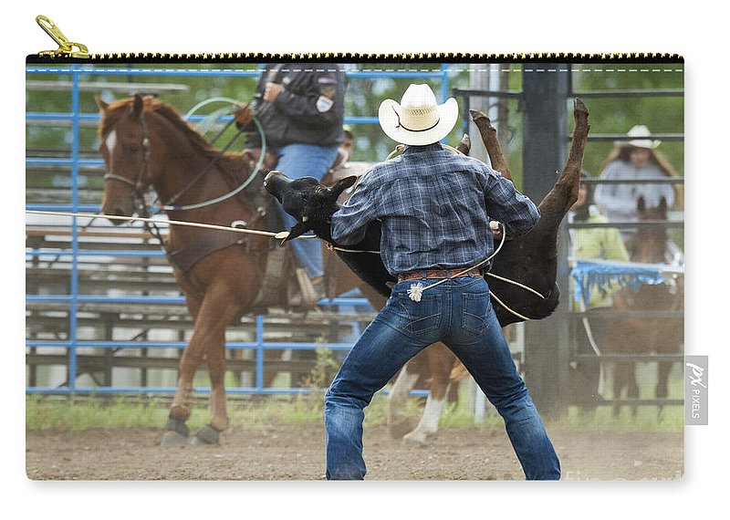 Cowboy Carry-all Pouch featuring the photograph Rodeo Easy Does It by Bob Christopher