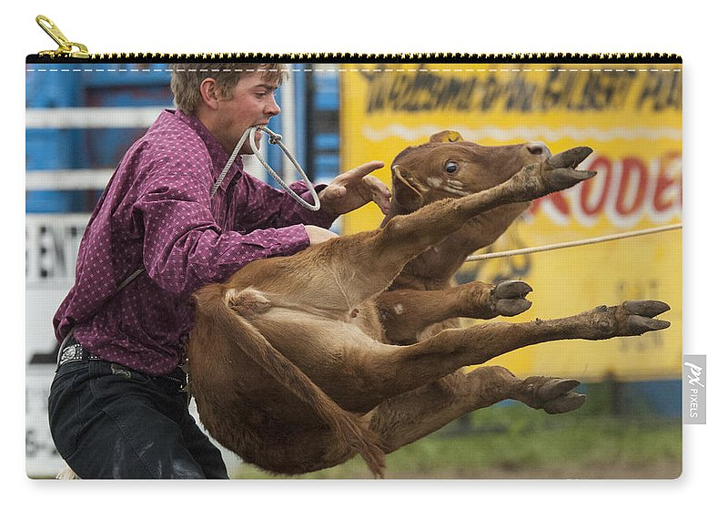 Calf Roping Carry-all Pouch featuring the photograph Rodeo Fit To Be Tied by Bob Christopher