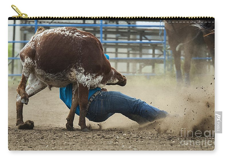 Cowboy Carry-all Pouch featuring the photograph Rodeo Getting Down by Bob Christopher