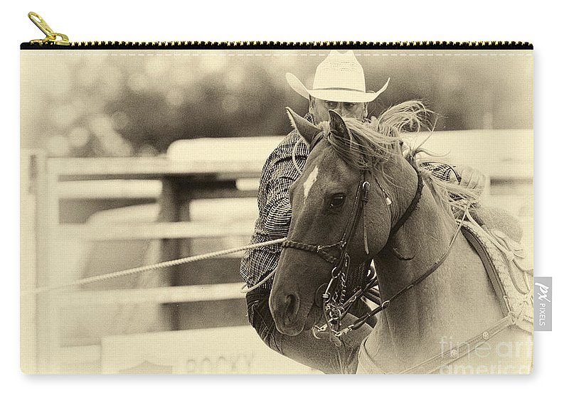 Cowboy Carry-all Pouch featuring the photograph Rodeo The Cowboy Way by Bob Christopher