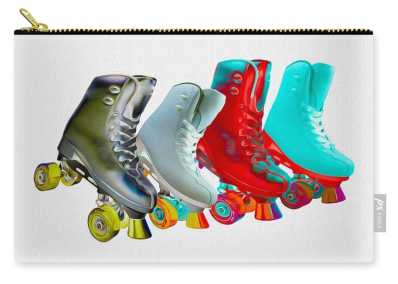 Skates Carry-all Pouch featuring the mixed media Roller Skates by P Donovan