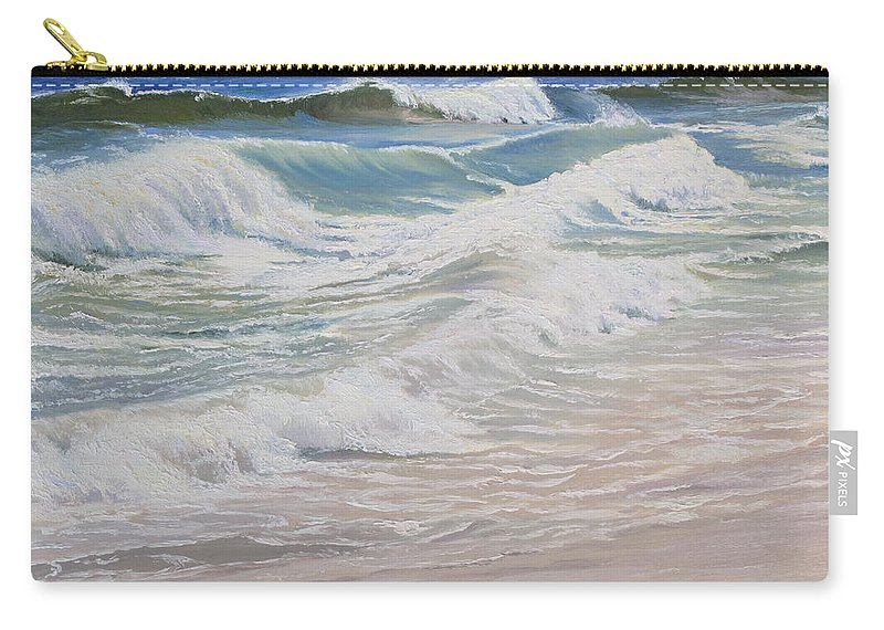 Seascape Carry-all Pouch featuring the painting Rolling and Crashing by Lea Novak