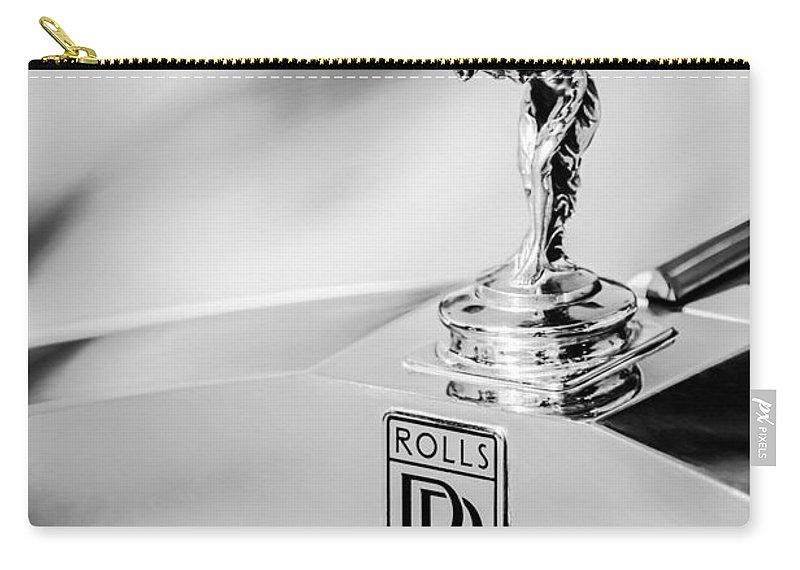 Rolls-royce Hood Ornament Carry-all Pouch featuring the photograph Rolls-royce Hood Ornament -782bw by Jill Reger
